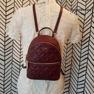 Kate Spade Mini Leather Quilted Backpack Cherry